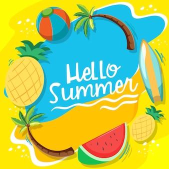 Witaj lato czcionka z letnimi elementami plażowymi na białym tle