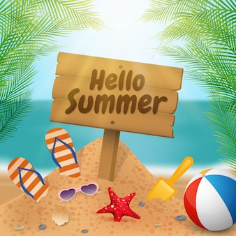 Witaj Lato Drewniany Szyld Na Scenie Plaży Premium Wektorów