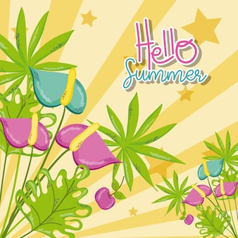 Witaj lato karty z uroczych kreskówek