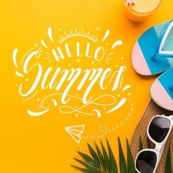 Witaj lato koncepcja napis