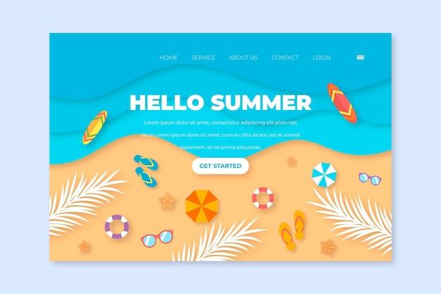 Witaj lato koncepcja szablonu strony docelowej