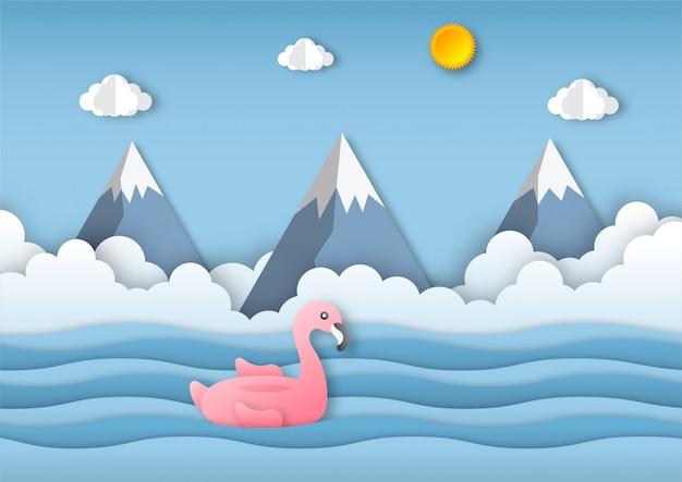 Witaj lato krajobraz plaży z różowym tle flamingo. styl sztuki papierowej.