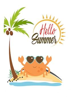 Witaj lato napis z ilustracją kraba na bezludnej wyspie