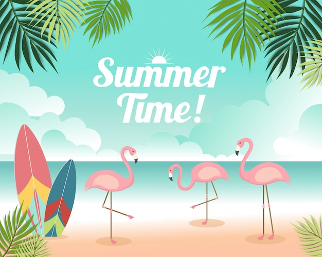 Witaj lato piękna ilustracja z flamingami, surfowaniem i widokiem na morze