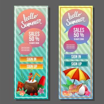 Witaj lato pionowy szablon transparent kolorowy parasol plaży