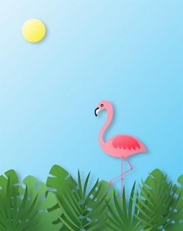 Witaj lato. różowy papierowy styl sztuki flaminga.