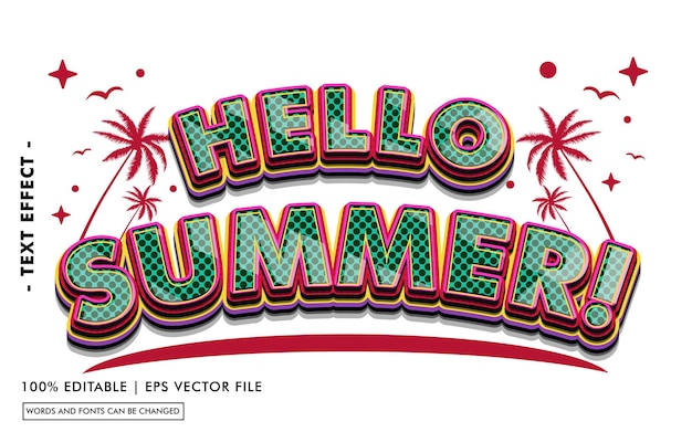 Witaj lato! styl efektu tekstowego