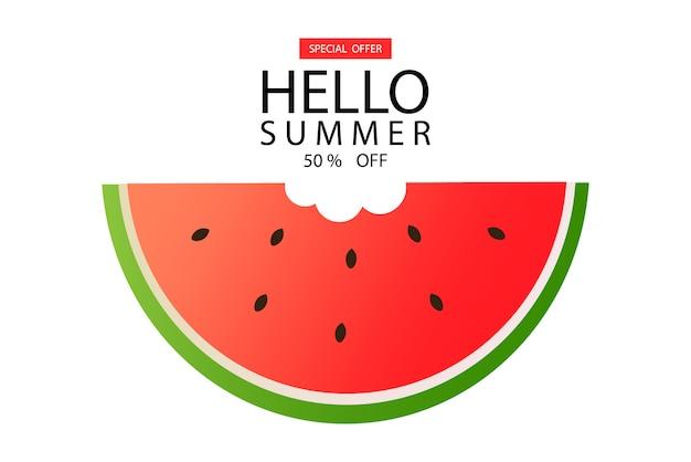 Witaj lato, sztandar z arbuzem, sztandar z wyprzedażą, 50% sprzedaży, odosobniony arbuz,