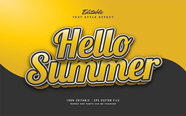 Witaj lato tekst w żółtym stylu retro z wytłoczonym efektem 3d. edytowalny efekt tekstowy