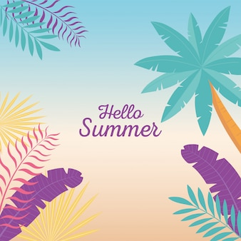 Witaj lato, tropikalne drzewo palmowe pozostawia liści tło gradientowe ilustracji