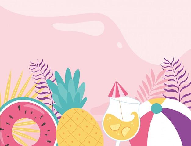 Witaj lato, tropikalne liście liści pływak ananas ilustracja koktajl piłka