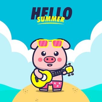 Witaj lato z ilustracją kreskówki świnia grać na gitarze