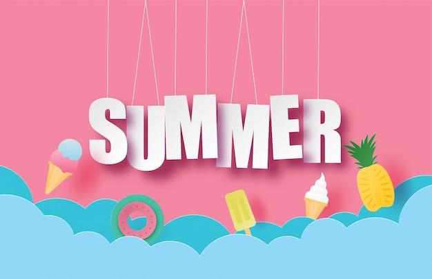 Witaj letni baner lub plakat z wiszącym tekstem i dekoracją w stylu wycinanki.
