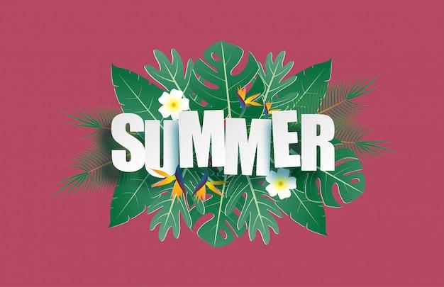 Witaj letni baner z tropikalnymi liśćmi i tekstem w stylu cięcia papieru.