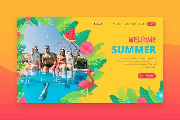 Witaj letni interfejs strony docelowej