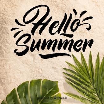 Witaj letni napis ze zdjęciem