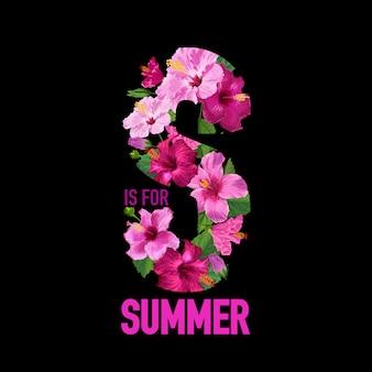 Witaj letni plakat tropikalny. kwiatowy wzór z fioletowymi kwiatami hibiskusa na koszulkę