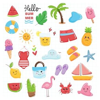 Witaj letni śliczny zestaw kawaii z pastelowym kolorem motywu plażowego.