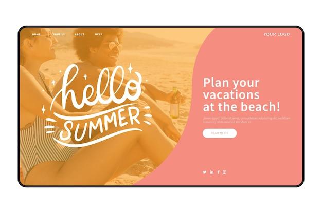 Witaj letni szablon strony docelowej ze zdjęciem