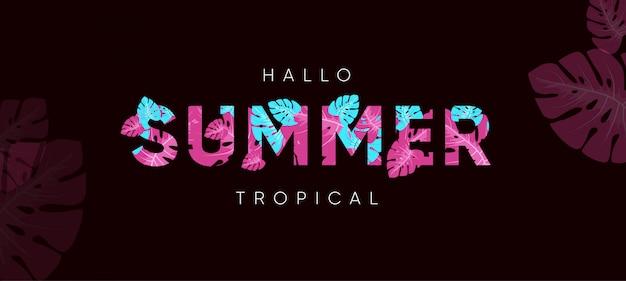 Witaj letni tropikalny baner
