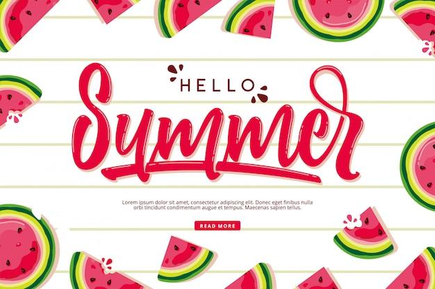 Witaj letnia karta z napisem