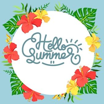 Witaj letnia ramka hibiskusa