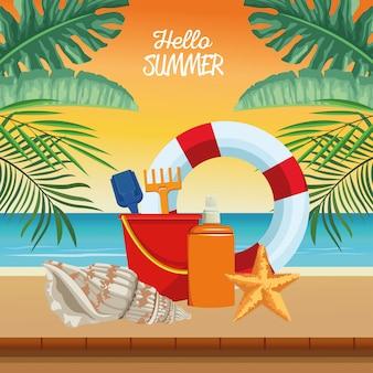 Witaj letnia scena sezonowa z ratownikiem i pływakiem