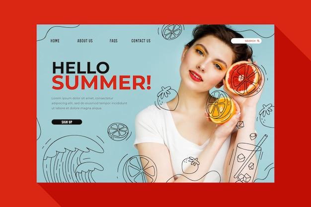 Witaj letnia strona docelowa z kobietą i owocami