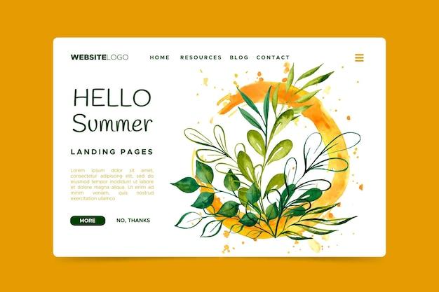 Witaj letnia strona docelowa z liśćmi