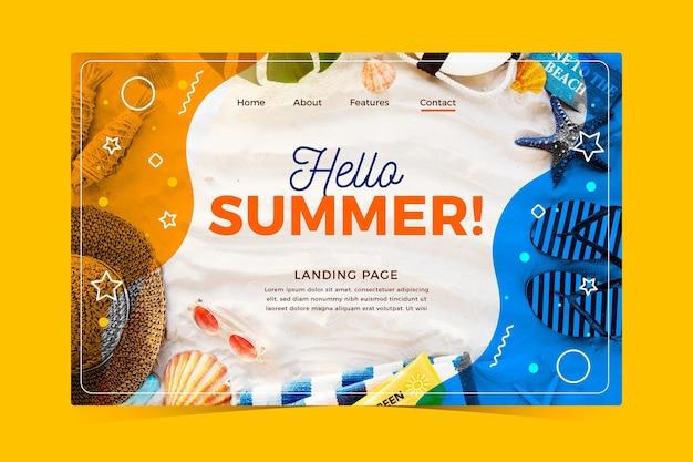 Witaj letnia strona docelowa z niezbędnikami plażowymi