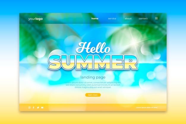 Witaj letnia strona docelowa z widokiem na plażę