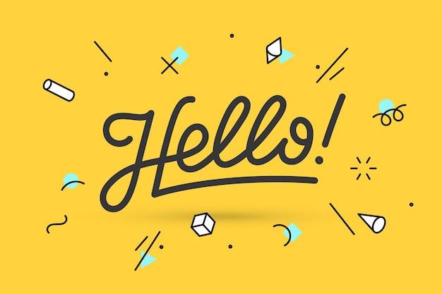 Witaj. napis na koncepcję banera, plakatu i naklejki z tekstem hello.