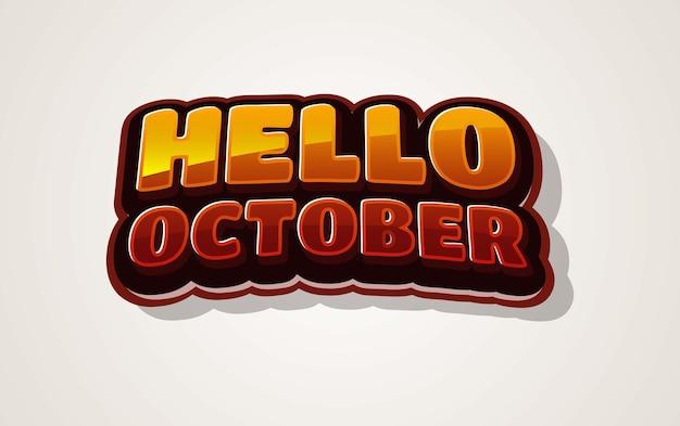 Witaj październikowy efekt tekstowy 3d
