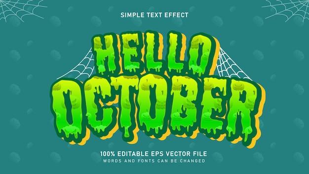 Witaj październikowy straszny efekt tekstowy śluzu halloween