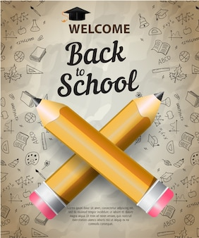 Witaj, powrót do szkoły napis z sylwetka czapka ukończenia szkoły