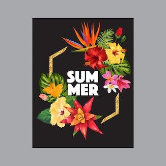 Witaj summer tropic design flowers banner