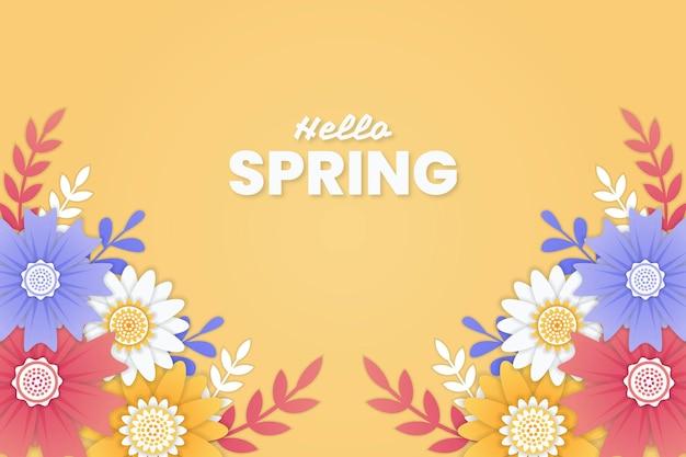 Witaj tło wiosna z kolorowymi kwiatami w stylu papieru