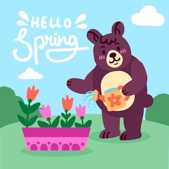 Witaj tło wiosna z misiem