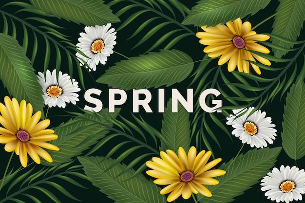 Witaj tło wiosna z roślinnością