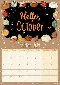 Witaj w październiku, śliczny, przytulny planer kalendarza na miesiąc 2019 w stylu dyń