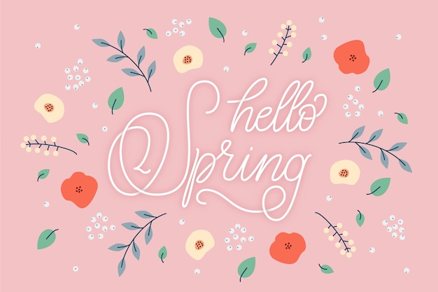 Witaj wiosenna tapeta z napisem