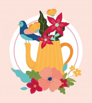 Witaj wiosenny czajniczek niebieski ptak z dekoracją liści kwiatów