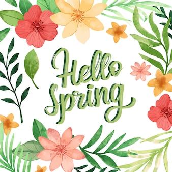 Witaj wiosenny kwiatowy napis z kolorową dekoracją