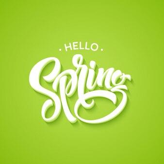 Witaj, wiosenny napis frazy. ręcznie rysowane kaligrafii