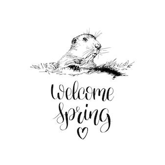 Witaj wiosenny napis odręczny.