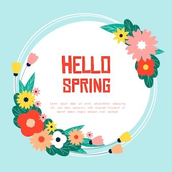 Witaj wiosenny napis z delikatnymi kwiatami
