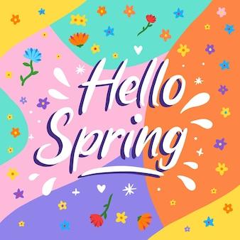 Witaj wiosenny napis z kolorową dekoracją
