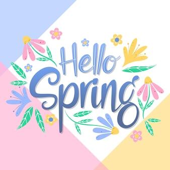 Witaj wiosenny napis z kwiatową dekoracją