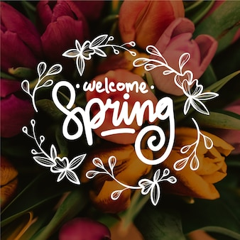 Witaj wiosenny napis ze zdjęciem