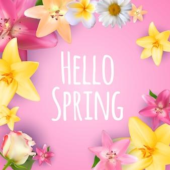 Witaj wiosna baner pozdrowienia projekt tło z kolorowych elementów kwiatowych.
